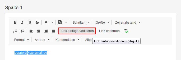 """1e57261fb8b6 Es öffnet sich ein Fenster. Als Link-Typ wählen Sie hier """"E-Mail"""". Tragen  Sie die gewünschte E-Mail-Adresse im entsprechenden Feld ein und klicken  zum ..."""